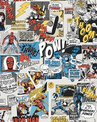 Marvel Comics Pow! Wallpaper Black Blue Red by