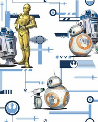 Star Wars: The Rise of Skywalker  Droids! Wallpaper Blue Gold by