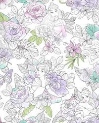 Disney Princess Royal Floral Wallpaper Purple by