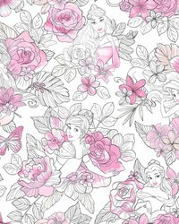 Disney Princess Royal Floral Wallpaper Magenta by