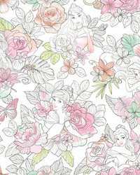 Disney Princess Royal Floral Wallpaper Coral by