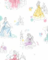 Disney Princess Pretty Elegant Wallpaper White by