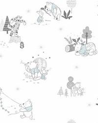 Disney Winnie the Pooh Playmates Wallpaper Black White Blue by