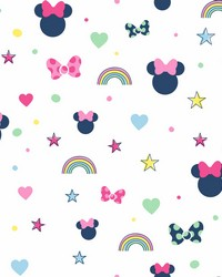 Disney Minnie Mouse Rainbow Wallpaper Pink by
