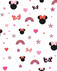 Disney Minnie Mouse Rainbow Wallpaper Red by