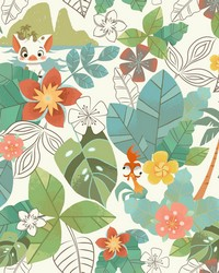 Disney Moana Jungle Wallpaper Red Green by