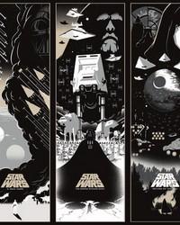 Star Wars: Celebrating The Saga Border Wallpaper Border Black White Cream by