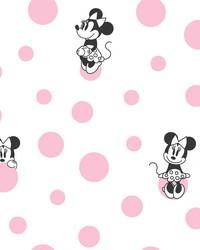 Minnie Dots Wallpaper Pink by
