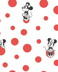 Disney Minnie Mouse Dots Wallpaper Red by