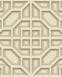 Asian Lattice Wallpaper Beige by
