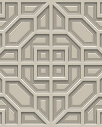 Asian Lattice Wallpaper Taupe by