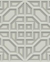 Asian Lattice Wallpaper Grey  Gray by