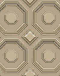 Coffered Octagon Wallpaper Brown by