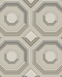 Coffered Octagon Wallpaper Taupe by