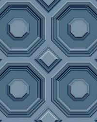 Coffered Octagon Wallpaper Navy by