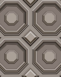 Coffered Octagon Wallpaper Black by