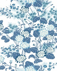 Chinese Floral Wallpaper Blue by