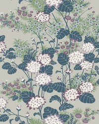 Chinese Floral Wallpaper Teal by