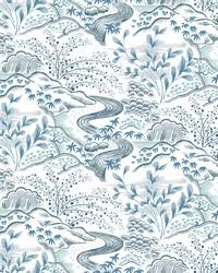 Waterfall Gardens Wallpaper Blue by
