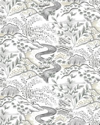 Waterfall Gardens Wallpaper Grey by