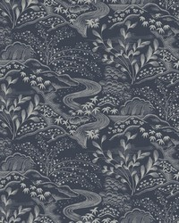 Waterfall Gardens Wallpaper Navy by
