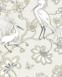Egrets Wallpaper Beige by