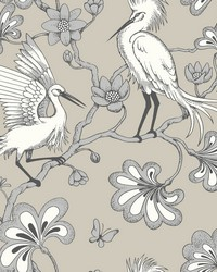 Egrets Wallpaper Taupe by