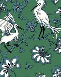 Egrets Wallpaper Green by