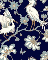 Egrets Wallpaper Navy by