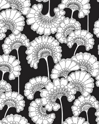 Japanese Floral Wallpaper Black by