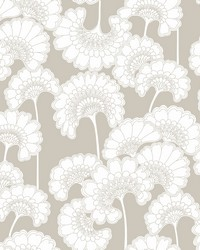 Japanese Floral Wallpaper Taupe by