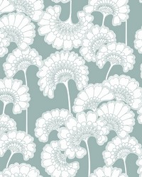 Japanese Floral Wallpaper Light Blue by