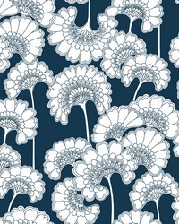 Japanese Floral Wallpaper Dark Blue by