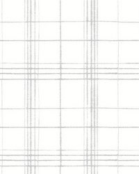 Farmhouse Plaid Wallpaper Gray White by