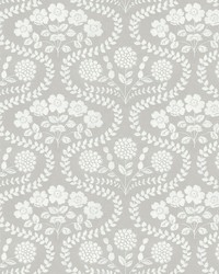 Folksy Floral Wallpaper Beige White by