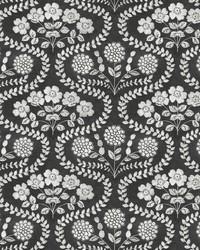 Folksy Floral Wallpaper Black White by