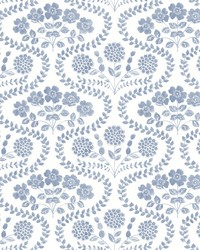 Folksy Floral Wallpaper Blue White by
