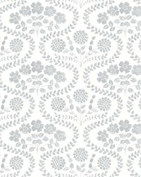 Folksy Floral Wallpaper Gray White by
