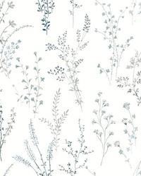 Wildflower Sprigs Wallpaper Blue Green by