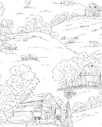 Pasture Toile Wallpaper Black White by