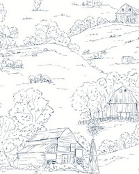 Pasture Toile Wallpaper Navy White by