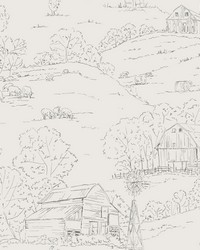 Pasture Toile Wallpaper Beige Gray by