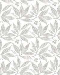 Chokeberry Block Print Wallpaper Linen White by