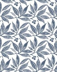 Chokeberry Block Print Wallpaper Navy White by