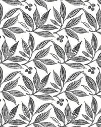 Chokeberry Block Print Wallpaper Black White by