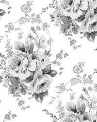 Heritage Rose Wallpaper White Black by