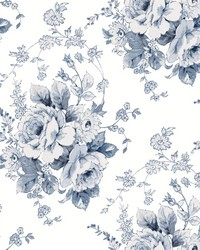Heritage Rose Wallpaper Navy White by