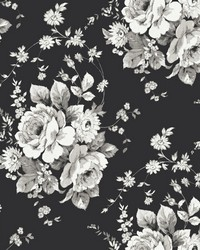 Heritage Rose Wallpaper Black Gray by