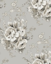 Heritage Rose Wallpaper Taupe Linen by