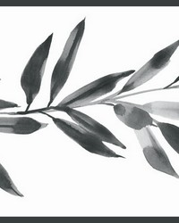 Olive Branch Border Black White by